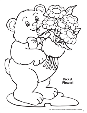 Look What's Buzzing Coloring Page: Pick a Flower! - Printable Worksheet