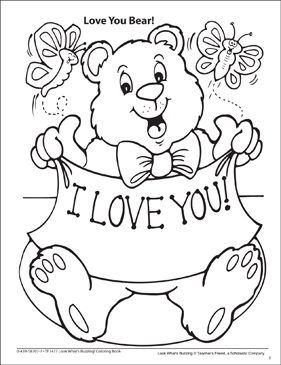 Look What's Buzzing Coloring Page: Love You Bear! - Printable Worksheet