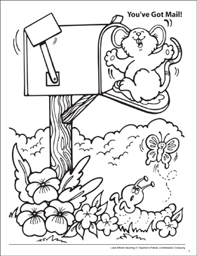 Look What's Buzzing Coloring Page: You've Got Mail! - Printable Worksheet