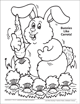 Look What's Buzzing Coloring Page: Bunnies Like Carrots! - Printable Worksheet