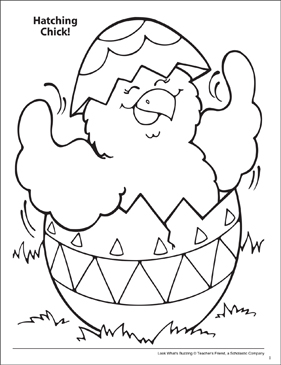 Look What's Buzzing Coloring Page: Hatching Chick! - Printable Worksheet