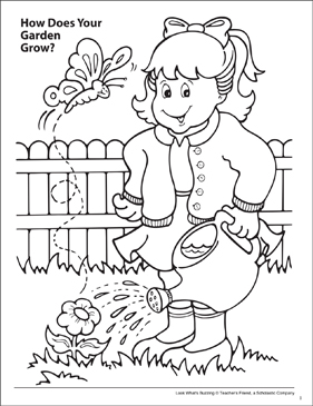 Look What's Buzzing Coloring Page: How Does Your Garden Grow? - Printable Worksheet