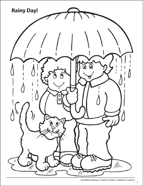 Look What's Buzzing Coloring Page: Rainy Day! - Printable Worksheet