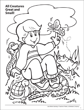 Look What's Buzzing Coloring Page: All Creatures Great and Small! - Printable Worksheet