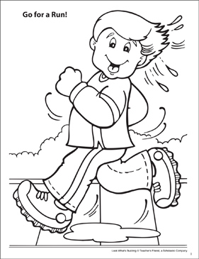 Look What's Buzzing Coloring Page: Go For a Run! - Printable Worksheet