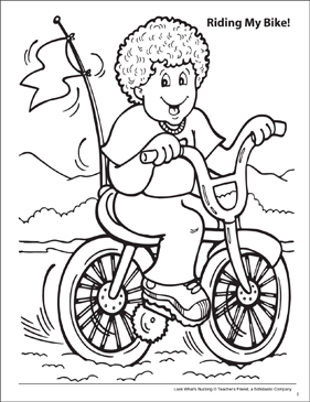 Look What's Buzzing Coloring Page: Riding my Bike! - Printable Worksheet