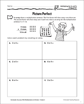 Picture Perfect (Multiplying by 4s and 5s Using Arrays) - Printable Worksheet