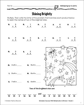 Shining Brightly (Multiplying by 4s and 5s) - Printable Worksheet