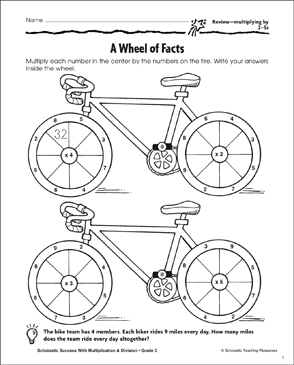A Wheel of Facts (Multiplying by 2-5s) - Printable Worksheet