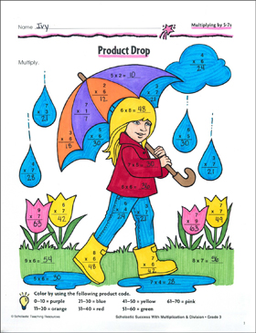 Product Drop (Multiplying by 5-7s) - Printable Worksheet