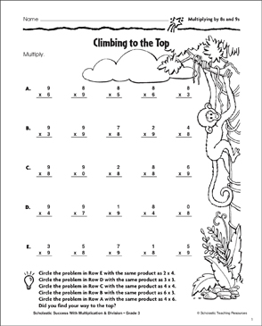 Climbing to the Top (Multiplying by 8s and 9s) - Printable Worksheet