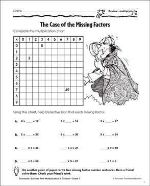 The Case of the Missing Factors (Multiplying by 2-9s) - Printable Worksheet