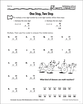One Step, Two Step (Multiplying Without Regrouping/2-Digit Top Factors) - Printable Worksheet