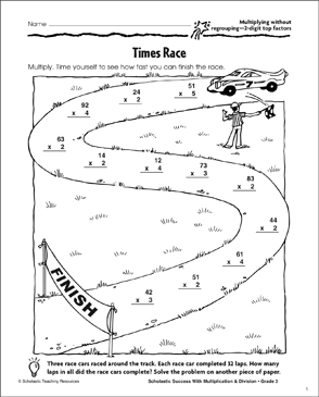 Times Race (Multiplying Without Regrouping/2-Digit Top Factors) - Printable Worksheet