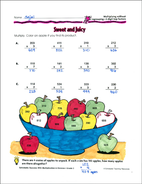 Sweet and Juicy (Multiplying Without Regrouping/3-Digit Top Factors) - Printable Worksheet