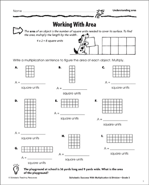 Working With Area (Understanding Area) - Printable Worksheet
