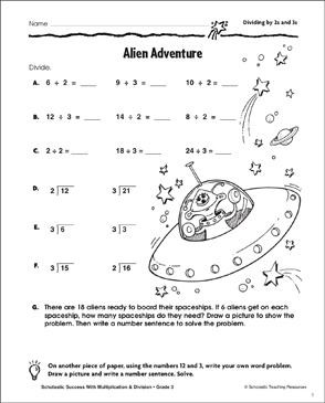 Alien Adventure (Dividing by 2s and 3s) - Printable Worksheet