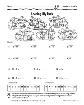 Leaping Lily Pads (Dividing by 6s and 7s) - Printable Worksheet