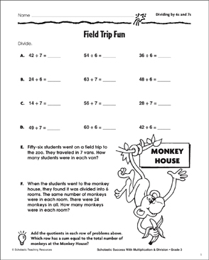 Field Trip Fun (Dividing by 6s and 7s) - Printable Worksheet