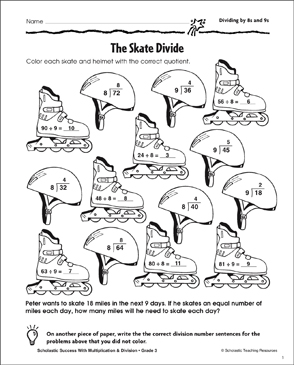 The Skate Divide (Dividing by 8s and 9s) - Printable Worksheet