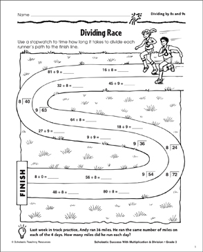 Dividing Race (Dividing by 8s and 9s) - Printable Worksheet