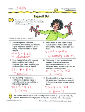 Figure It Out (Interpreting Quotients and Remainders) - Printable Worksheet
