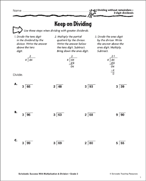 Keep on Dividing (Dividing Without Remainders/2-Digit Dividends) - Printable Worksheet