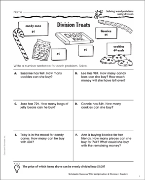 Division Treats (Solving Word Problems Using Division) - Printable Worksheet