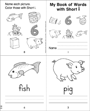 My Book of Words with Short i - Printable Worksheet