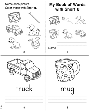 My Book of Words with Short u - Printable Worksheet