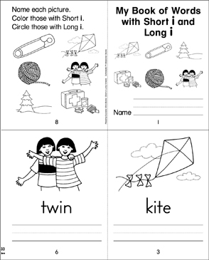 My Book of Words with Short and Long i - Printable Worksheet