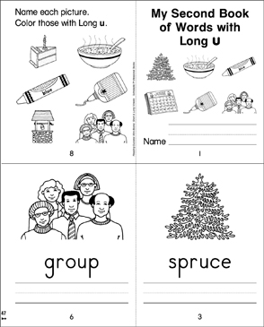 My Second Book of Words with Long u - Printable Worksheet