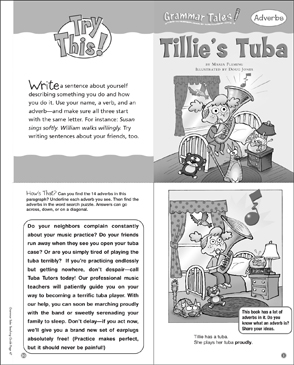 Tillie's Tuba (Adverbs): Grammar Tale - Printable Worksheet