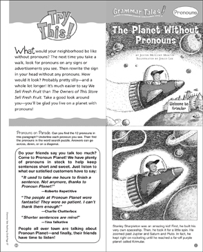 The Planet Without Pronouns: Grammar Tale - Printable Worksheet