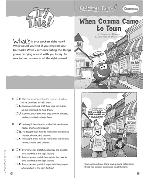 When Comma Came to Town: Grammar Tale - Printable Worksheet