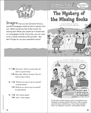 Grammar Tales: The Mystery of the Missing Socks (Quotation Marks) - Printable Worksheet