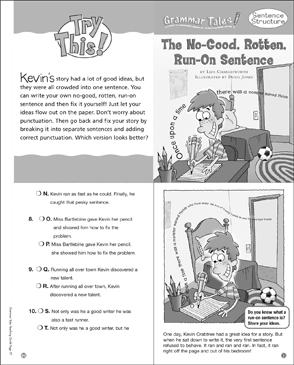 The No-Good, Rotten, Run-on Sentence: Grammar Tale - Printable Worksheet