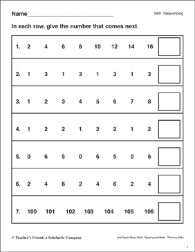 Sequencing (Number Patterns) - Printable Worksheet