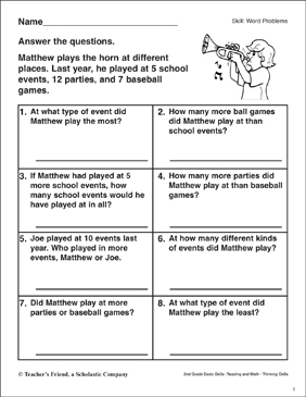 Word Problems (Matthew's Trumpet) - Printable Worksheet