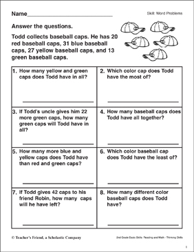 Word Problems (Baseball Cap Collection) - Printable Worksheet
