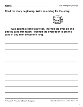 Writing Story Endings (Baking a Cake) - Printable Worksheet