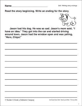 Writing Story Endings (Jason's Lost Dog) - Printable Worksheet
