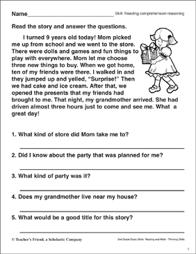 Reading Comprehension - Reasoning (The Best Birthday) - Printable Worksheet