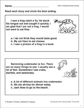 Finding the Best Ending (Frogs & Fish) - Printable Worksheet