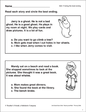 Finding the Best Ending (A Friendly Ghost) - Printable Worksheet