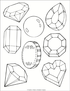 Jewel and Treasure Coloring Page - Printable Worksheet