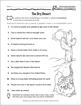 The Dry Desert (Punctuating Statements, Questions, and Exclamations) - Printable Worksheet