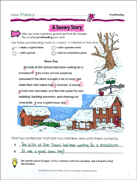 A Snowy Story (Proofreading) - Printable Worksheet