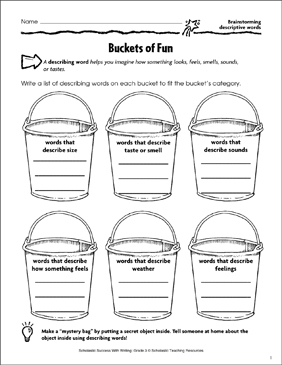 Buckets of Fun (Brainstorming Descriptive Words) - Printable Worksheet