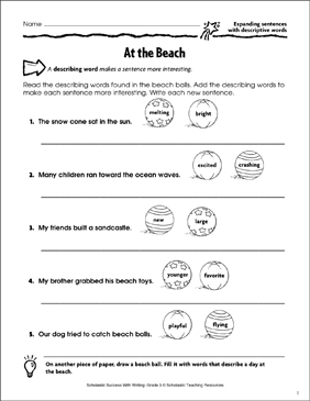 At the Beach (Expanding Sentences With Descriptive Words) - Printable Worksheet